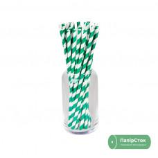 Соломка бумажная в полоску зеленая