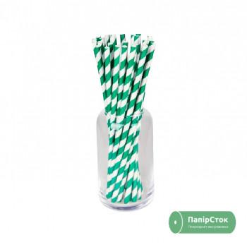 Соломка паперова в смужку зелена