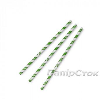 Зелена  соломинка із білою полосою 8 мм в обгортці