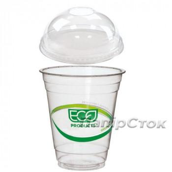 Стаканчики для холодных напитков 340 мл ПЛА с купольной крышкой