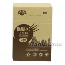Размешиватель для напитков деревянный 140x6x1.8 мм в инд. упак. (250 шт.) в коробке