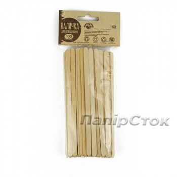Размешиватель для напитков деревянный 140x6x1.8 мм  ( 100 шт)