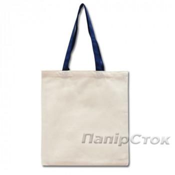 Эко-сумка 100% хлопковая белая 38х40 см с синими ручками