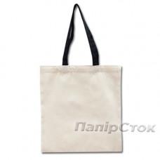 Эко-сумка 100% хлопковая белая 38х40 см с черными ручками - image