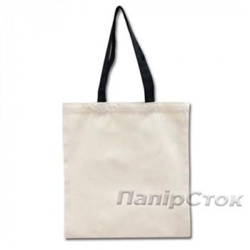 Эко-сумка 100% хлопковая белая 38х40 см с черными ручками