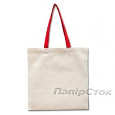 Эко-сумка 100% хлопковая белая 38х40 см с красными ручками - image