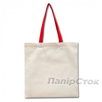 Эко-сумка 100% хлопковая белая 38х40 см с красными ручками