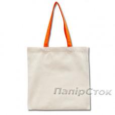 Эко-сумка 100% хлопковая белая 38х40 см с оранжевыми ручками - image