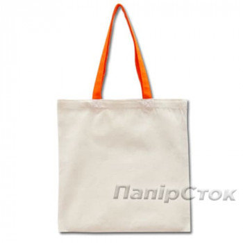Эко-сумка 100% хлопковая белая 38х40 см с оранжевыми ручками