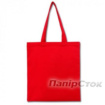 Эко-сумка 100% хлопкова-саржа 35х41 см красная