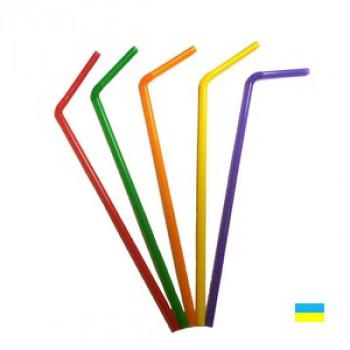 Трубочка 21см, цвет., с коленом, 200шт., пачка (60 пач/ящ)