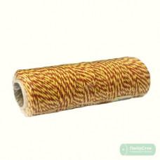 Шпагат бавовняний жовто-червоний 100м