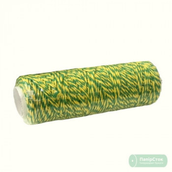 Шпагат хлопковый зелёно-жёлтый 100м