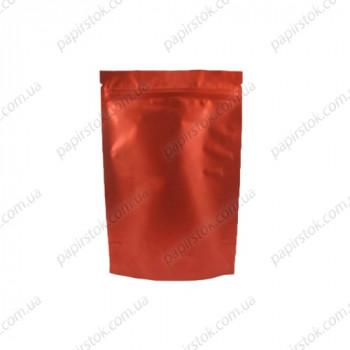Дой-пак красный матовый 130х200х35 зип, насечки