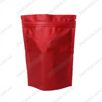 Дой-пак красный матовый 210х380х55 зип, насечки