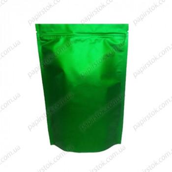 Дой-пак зелений 210х380х55 зіп, насічки