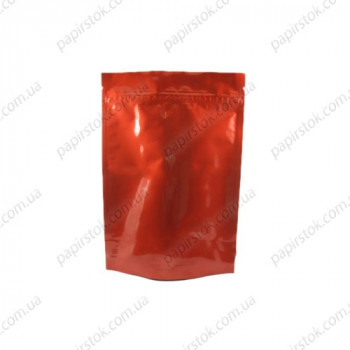 Дой-пак червоний глянець 130х200х32 зіп, насічки