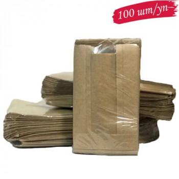 Пакет коричневый 140х50х240 с окном (100 шт./уп.)