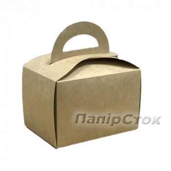 Коробка для пирожных крафт+ бел150х110х95