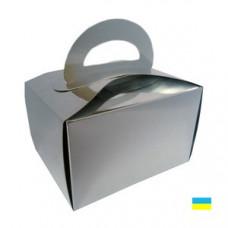 Коробка для пирожных серебряная 150х110х95