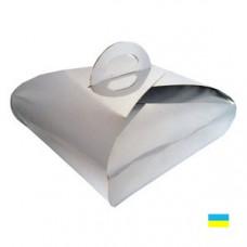 Коробка для торта серебряная 230х230х80