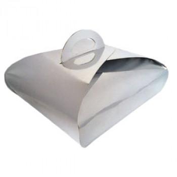 Коробка для торта серебряная+крафт 230х230х80