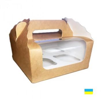 Коробка под капкейки, 4 шт. крафт 2 ч.