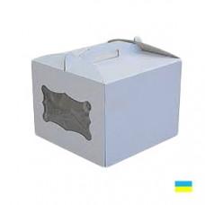 Коробка тортовая 300х300х250 с окошком, микрогофр. картон 2 ч. - image