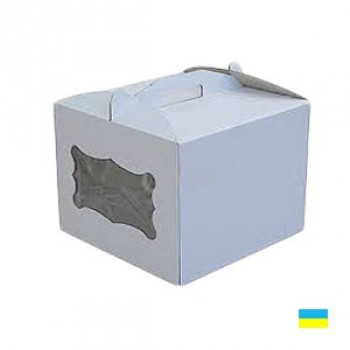 Коробка тортовая 300х300х250 с окошком, микрогофр. картон 2 ч.