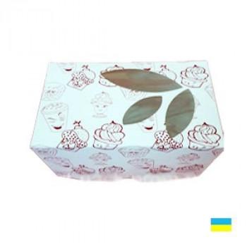 Коробка под кекс 120х85х90 принт со вставкой (1 шт.) Мелов.картон 2ч.