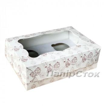 Коробка под кекс 250х170х80 со вставкой (4 шт.) мелов. картон 2ч. самосборная