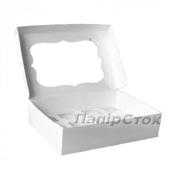 Коробка под кекс 340х250х90 со вставкой (12 шт.) мелов. картон 2ч.