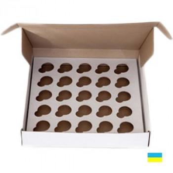 Коробка под кекс 260х255х45 30 мм (25 шт. по 3 см) со вставкой микрогофр. картон 2 ч.