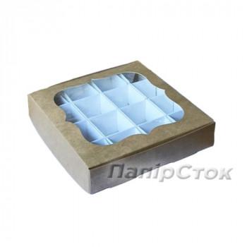 Коробка под пряник 150х150х30 со вставкой 3 ч. Крафт