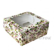 Коробка для пирожных Весна 170х170х90 со вставками