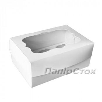 Самосборная Коробка под кекс 340х250х90 со вставкой (6 шт.) мелов. картон 2ч.