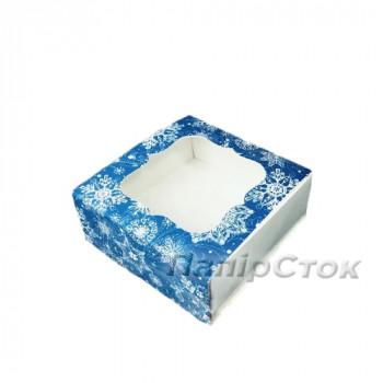Коробка под пряник синяя Снег 80х80х35