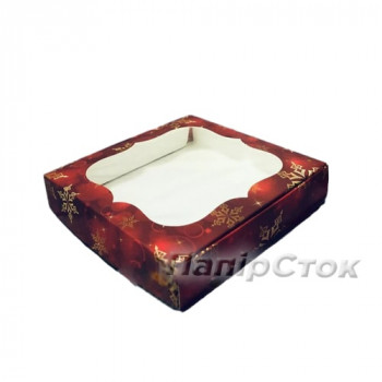 Коробка под пряник красная Снег 150х150х30