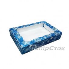 Коробка под пряник синяя Снег 150х200х30