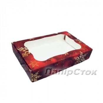Коробка под пряник красная Снег 150х200х30