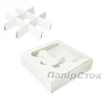 Коробка под пряник белая 120х120х30 с вставк.