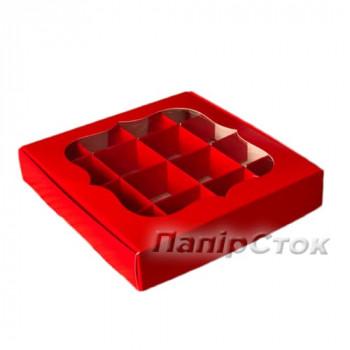 Коробка для пряника червона 150х150х30 з вставками