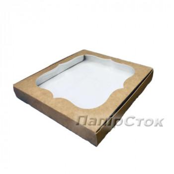 Коробка под пряник крафт 200х200х30