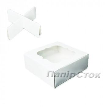 Коробка под пряник белая 80х80х35 с вставк.