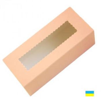 Коробка с прозрачным окном для макаронсов пастельная 141х59х49
