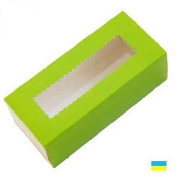 Коробка с прозрачным окном для макаронсов зеленая 141х59х49