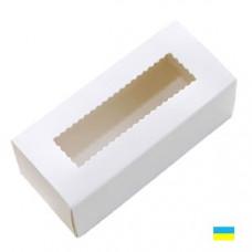 Коробка с прозрачным окном для макаронсов белая большая 302х62х52 - image