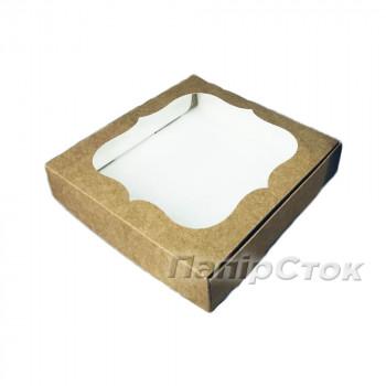 Коробка под пряник крафт 150х150х30 без вставки мелов. картон 2ч.