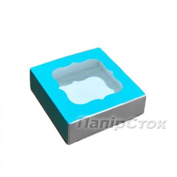 Коробка для пряника бирюзовая 120х120х30 без вставки