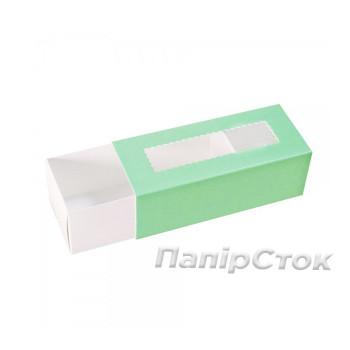 Коробка с прозрачным окном для макаронсов бирюзовая 141х59х49